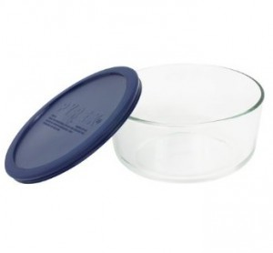 Pyrex Storage 7-Cup Round Dish with Dark Blue Plastic Cover