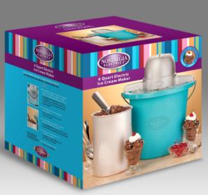 Nostalgia Electrics ICMP400BLUE 4-Quart Electric Ice Cream Maker - packaging box