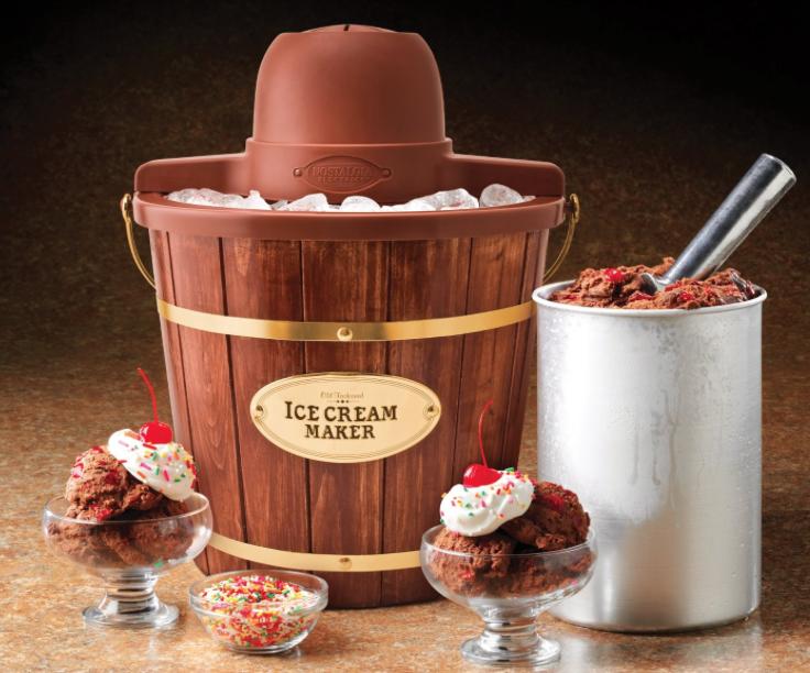 Nostalgia Electrics ICMW400 4-Quart Wooden Bucket Electric Ice Cream Maker